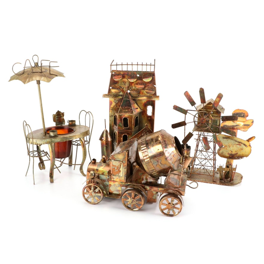Rainbow Patina Metal Music Boxes and Figurine, Mid to Late 20th Century