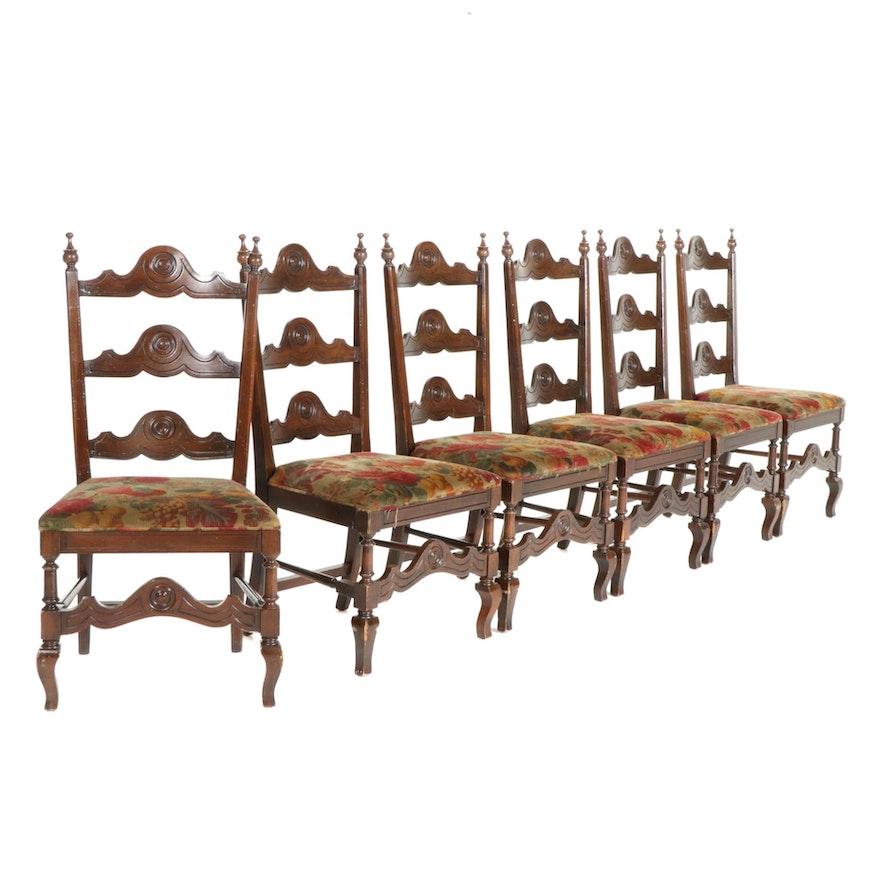 Six Walnut Dining Chairs, Mid-20th Century