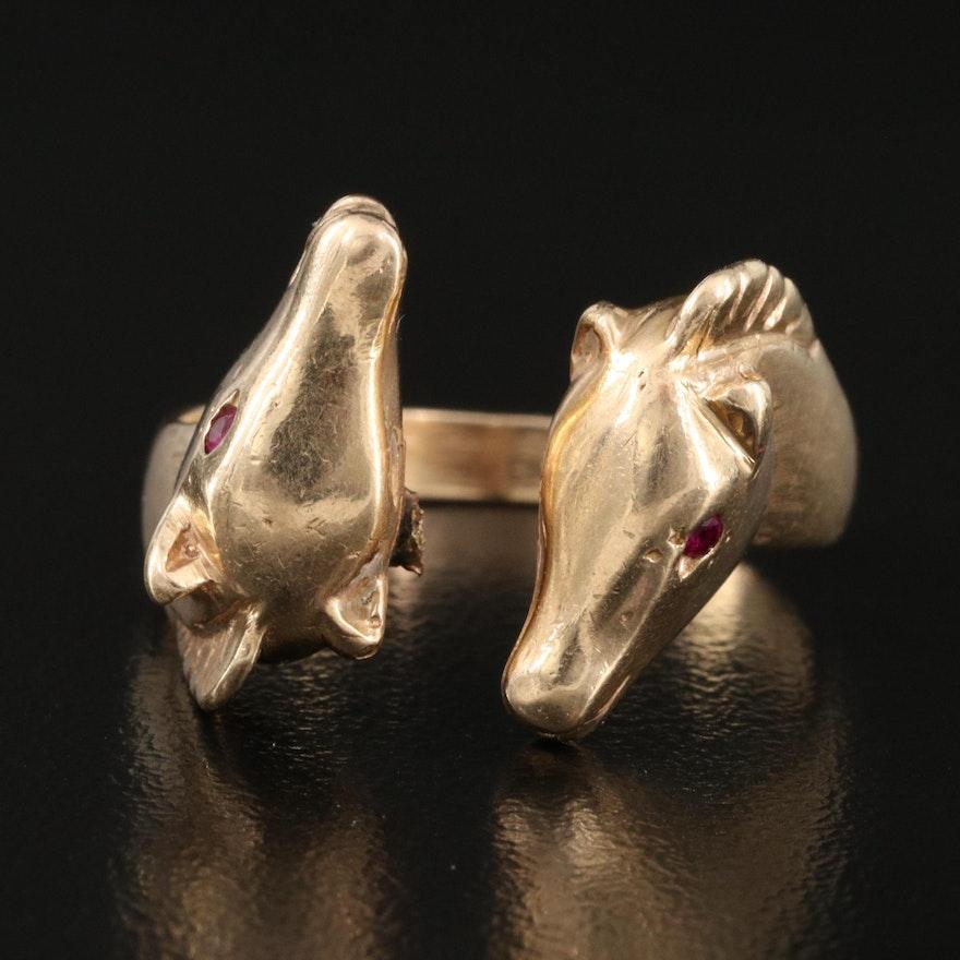 14K Ruby Equestrian Ring