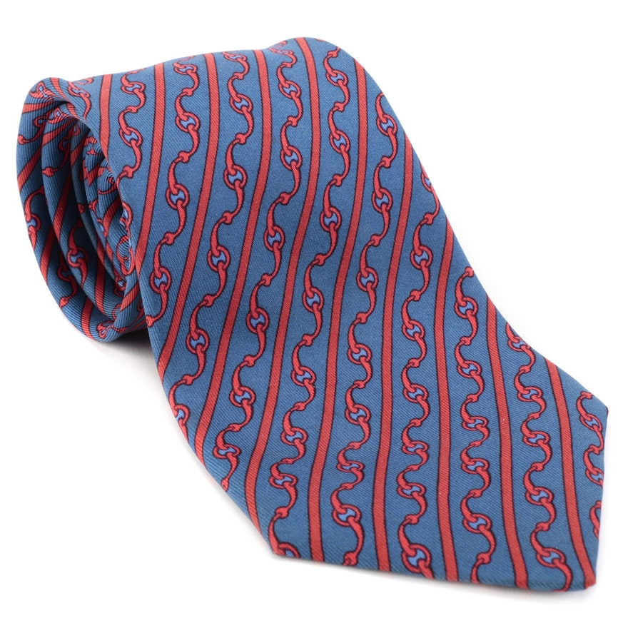 Hermès 999 SA Maillons Patterned Silk Twill Necktie