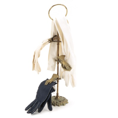 Victorian Style Brass Glove Holder with Women's Cloth Gloves, Late 20th Century