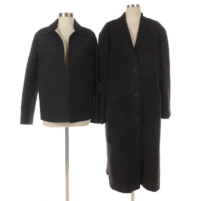 Louis Féraud Wool-Blend Overcoat and Dana Buchman Quilted Jacket
