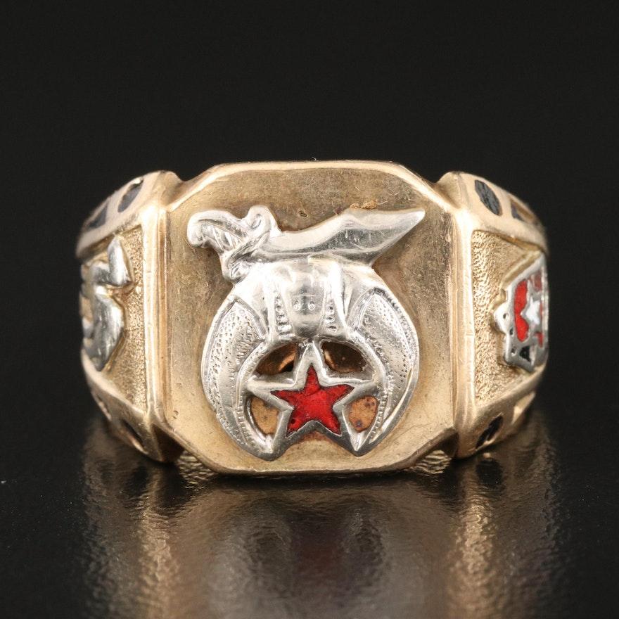 10K Shriner's Ring with Enamel Detail