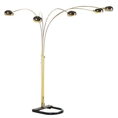 Modernist Brass Five-Light Arc Floor Lamp, Late 20th Century