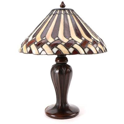 Basket Weave Pattern Slag Glass Table Lamp with Bronzed Metal Base