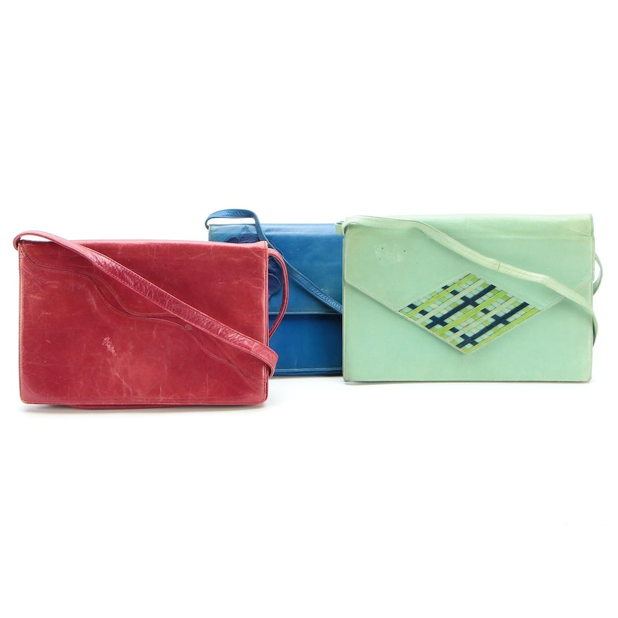 Ottorina Rossi, Rayne and Colette Clutches in Leather with Shoulder Straps