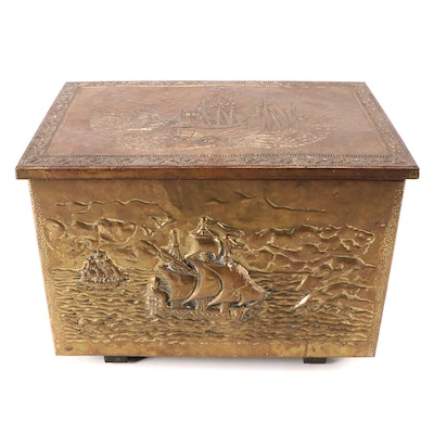 Repoussé Brass Covered Kindling Box with Galleon, Early to Mid 20th C.