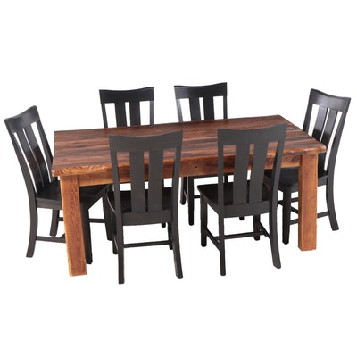 Reclaimed Pine Dining Table with Six Ebonized Side Chairs