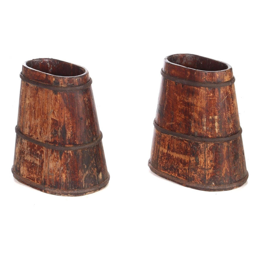 Pair of Tapered Wooden Oval Buckets, 19th Century