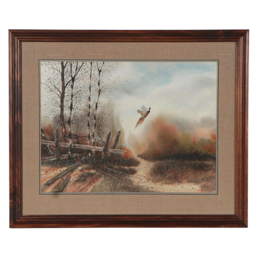 "John L. Carter Watercolor Painting ""Pheasant Flight,"" Late 20th Century"
