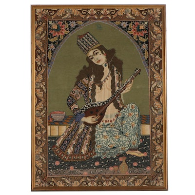 Hand-Knotted Persian Rug Wall Hanging of Woman Playing Sitar