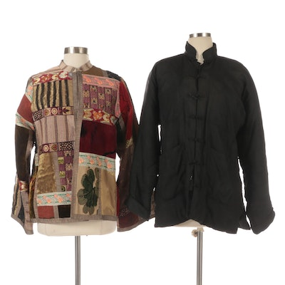 Chinese Padded Jacket in Black Jacquard with Frog Closures and Patchwork Jacket