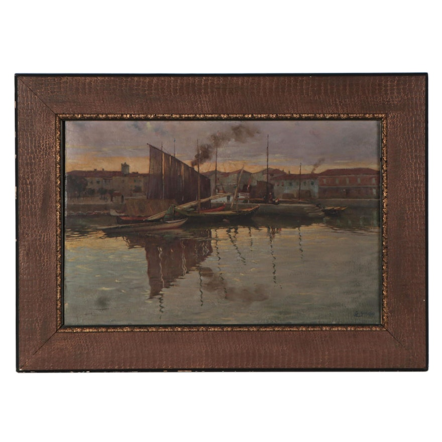 G. Secan Oil Painting of Harbor, Mid-Late 20th Century