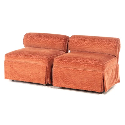 Pair of Bolster-Back Armless Lounge Chairs on Casters