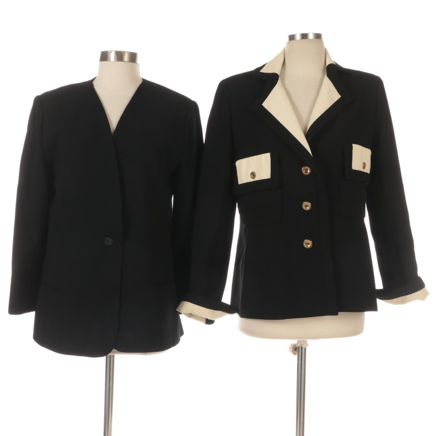 Helga Jackets in Black Wool and with Off- White Cuffs and Collar
