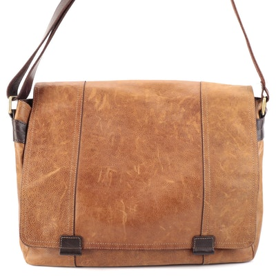 Fossil Flap Front Messenger Bag in Brown Leather
