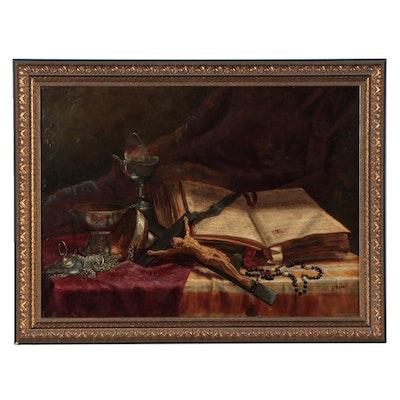 Salvati Still Life Oil Painting of Desk, Early-Mid-20th Century