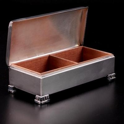 Poole Silver Plate Cedar Lined Cigarette Box, Mid 20th Century
