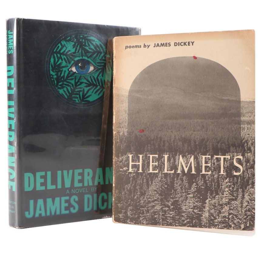 """First Edition """"Deliverance"""" and Signed """"Helmets"""" by James Dickey"""