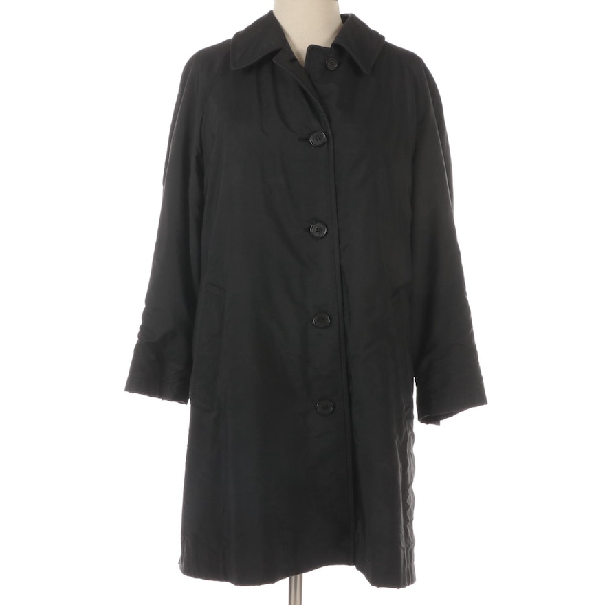 """Burberrys Button-Front Coat in Black with Removable """"Nova Check"""" Wool Lining"""