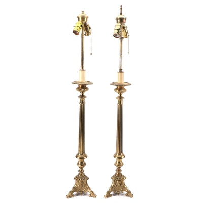 Converted Brass Altar Candlestick Lamps, Mid to Late 20th Century