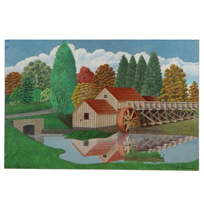 Folk Art Style Landscape Oil Painting of Mill, 1988