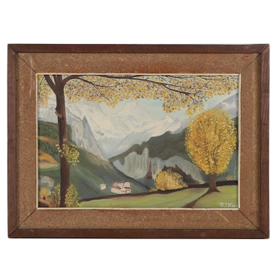 R. T. King Mountain Landscape Oil Painting, Late 20th Century