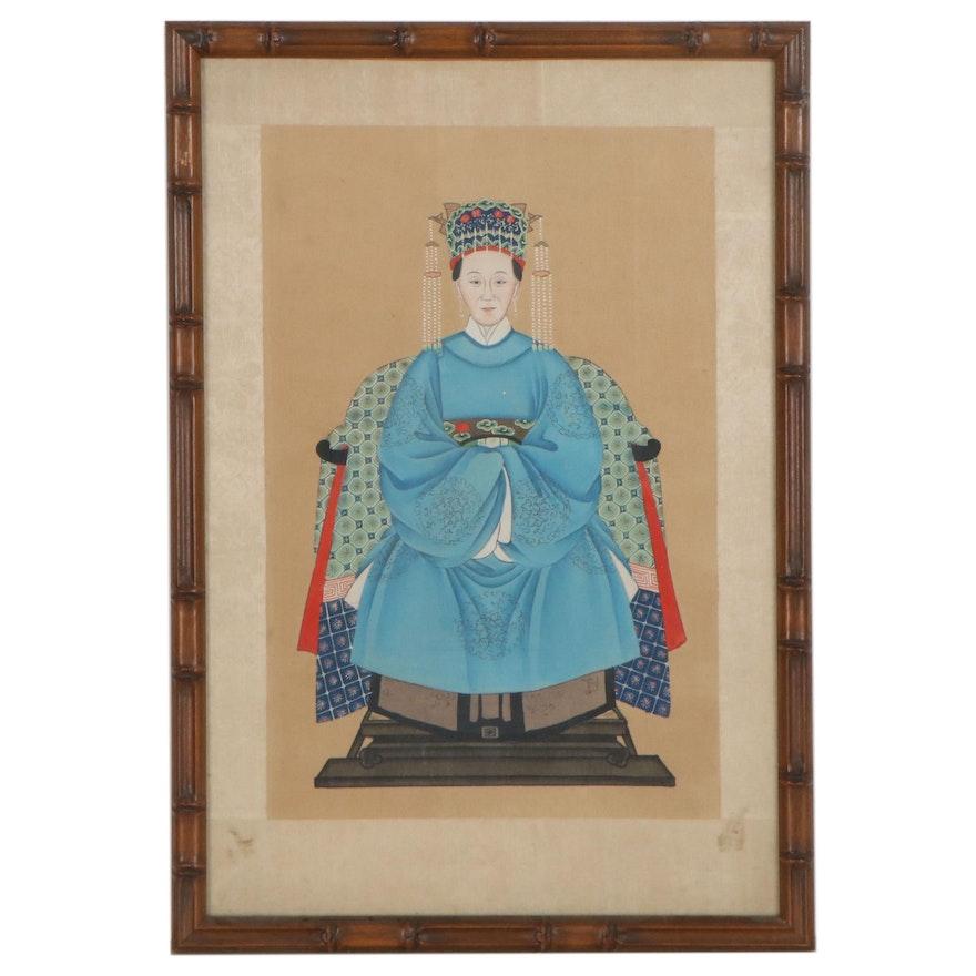 Chinese Style Gouache Ancestor Portrait