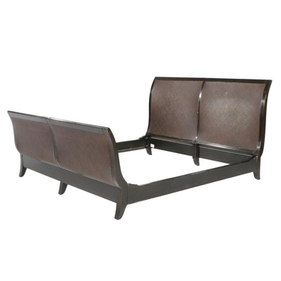 Contemporary Ebonized Wood and Woven Cane King Size Sleigh Bed