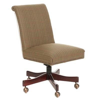 Office Desk Chair with Wool Houndstooth Weave Upholstery
