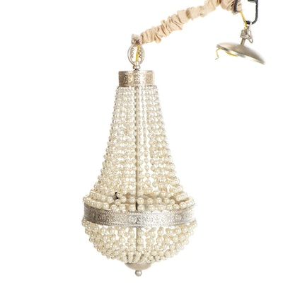 White Faux Pearl Beaded Chandelier, Contemporary