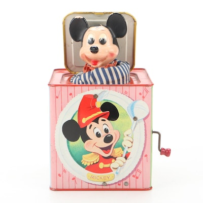"""Mattel """"Mickey Mouse In The Music Box"""" Tin Jack In The Box, 1958"""