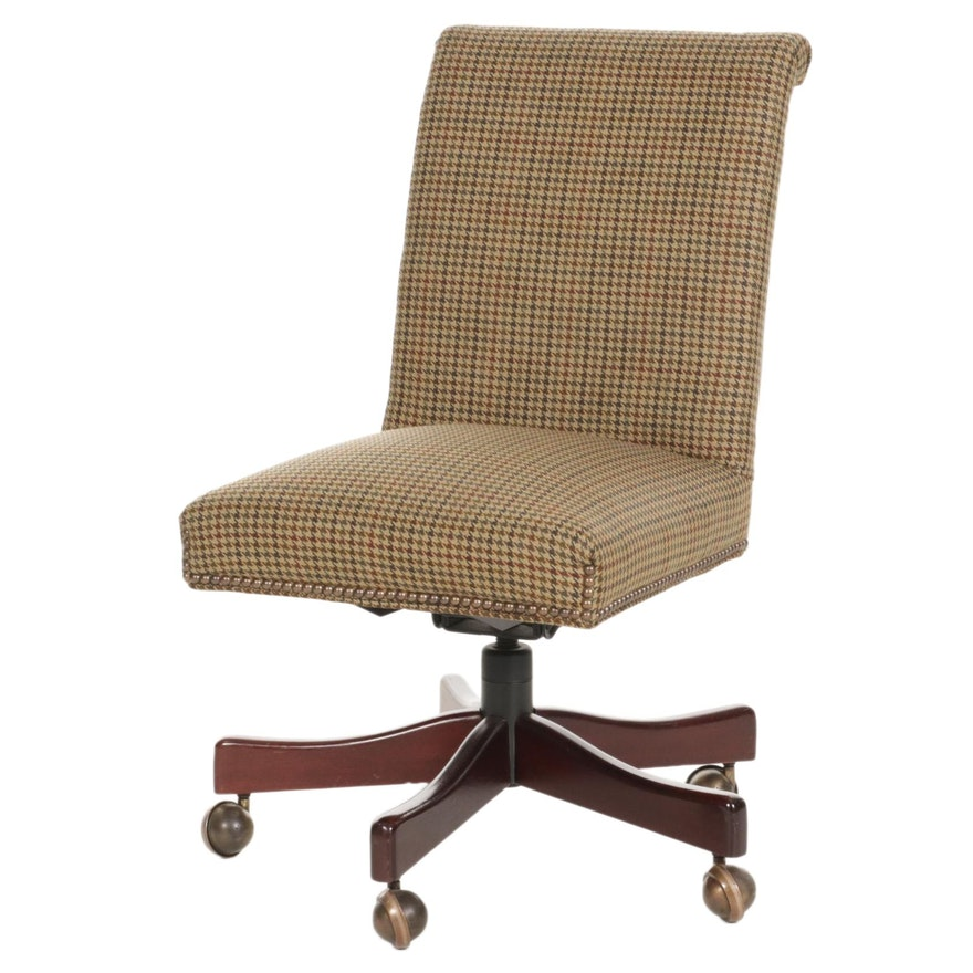 Office Side Chair with Wool Houndstooth Weave Upholstery