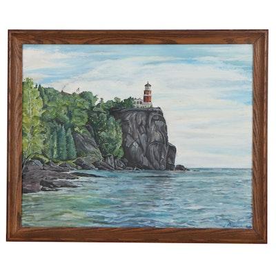 "Seascape Oil Painting ""Honeymoon,"" 1969"