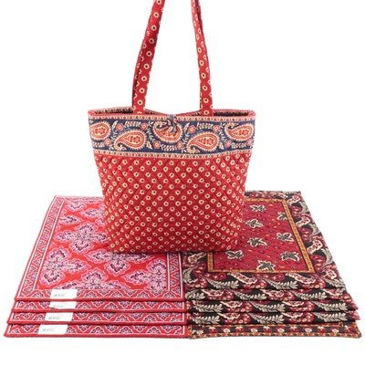 """Vera Bradley """"Frankly Scarlet"""" and """"Red Coin"""" Placemats with """"Americana Red"""" Bag"""