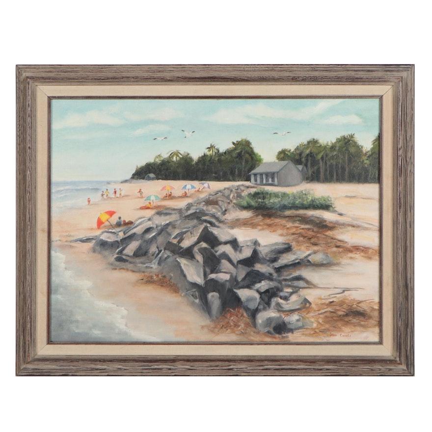 Jean Casale Beach Scene Oil Painting, Late 20th Century