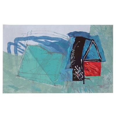 "Calman Shemi Felted Wool Tapestry ""Spontaneous Geometry #9"""