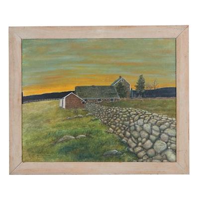 """William E. Marks Oil Painting """"Brookside Twilight,"""" 1982"""