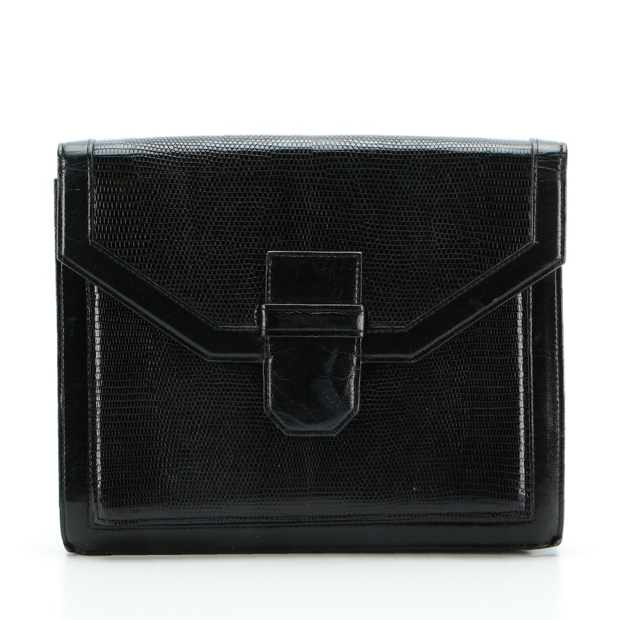 Yves Saint Laurent Accordion-Style Clutch in Black Embossed Leather