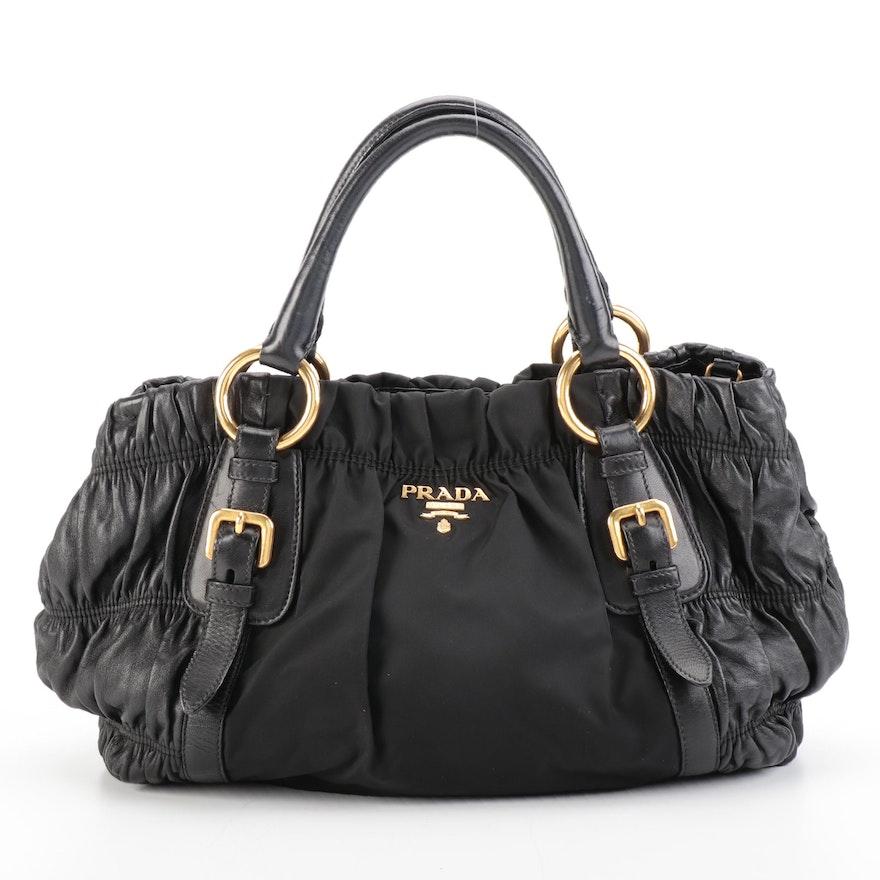 Prada Shopper Tote Bag in Black Gaufre Lambskin and Nylon Tessuto