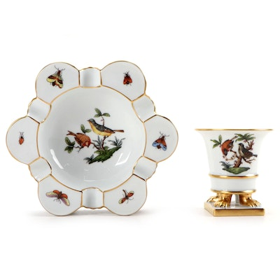 """Herend """"Rothschild Bird"""" Porcelain Ashtray and Claw Footed Urn"""