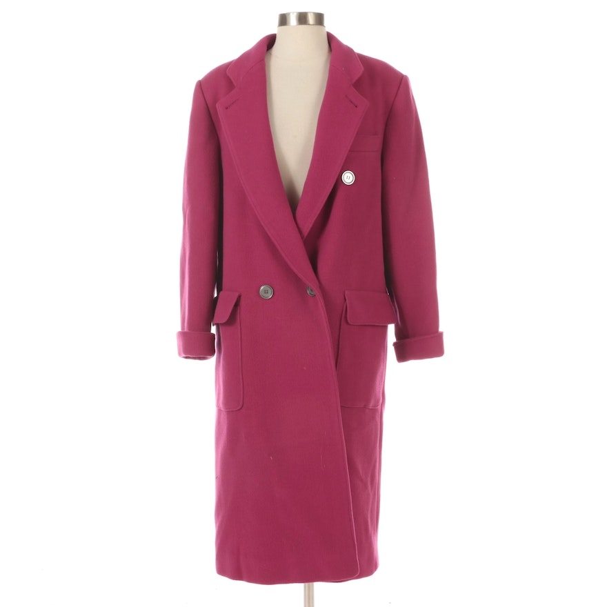 Fuchsia Double-Breasted Wool Top Coat with Notch Collar