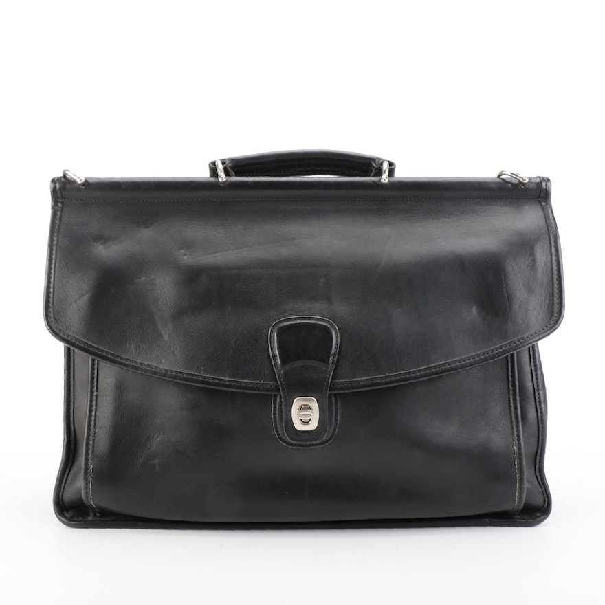 Coach Beekman 5266 Two-Way Briefcase Bag in Black Glove-Tanned Leather