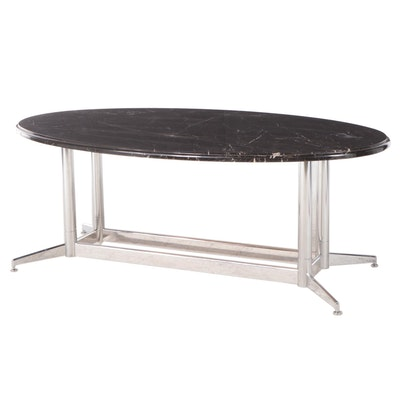 Modernist Style Chrome and Oval Black Marble Top Table