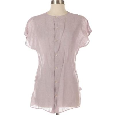 Cap Sleeve Button-Up Blouse in Lavender Linen