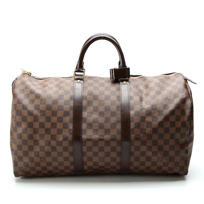 Louis Vuitton Keepall 50 in Damier Ebene Canvas and Smooth Leather