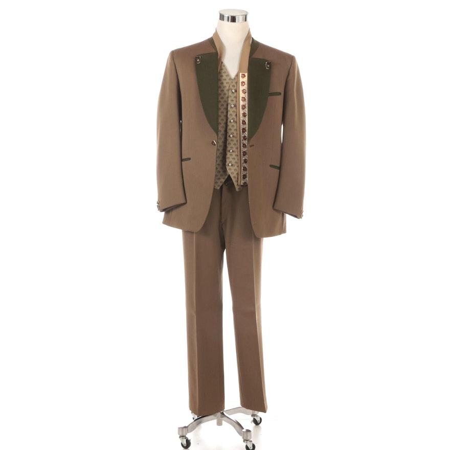 Men's Lodenfrey Austrian Wool Three-Piece Trachten Suit with Tie