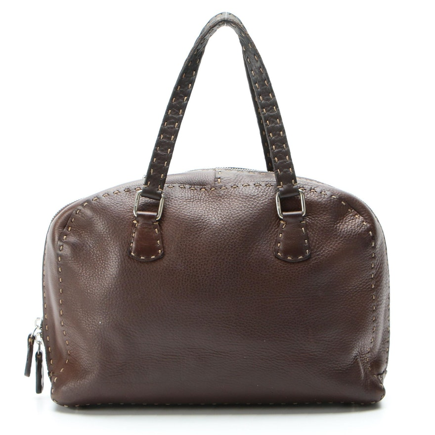Fendi Selleria Handbag in Brown Roman Leather with Contrast Stitching