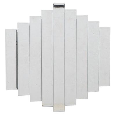 Modernist Style Beveled Glass Graduated Nine-Pane Mirror