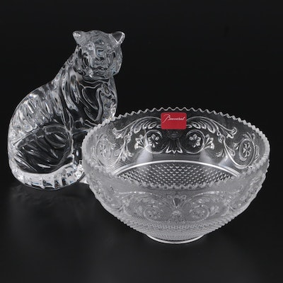 """Baccarat Crystal """"Arabesque"""" Bowl with """"Tiger Sitting"""" Figurine"""